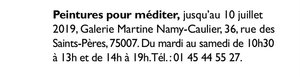 Annonce exposition galerie Martine Namy-Caulier